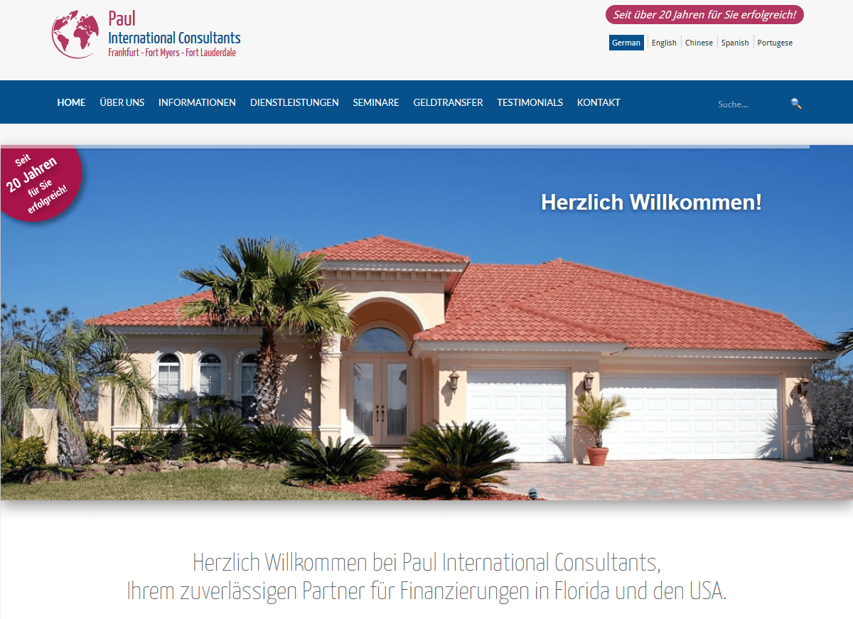 Paul International Consultants, Finanzierungen in Florida & USA